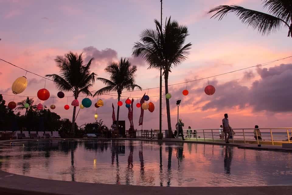 bali palms sunset