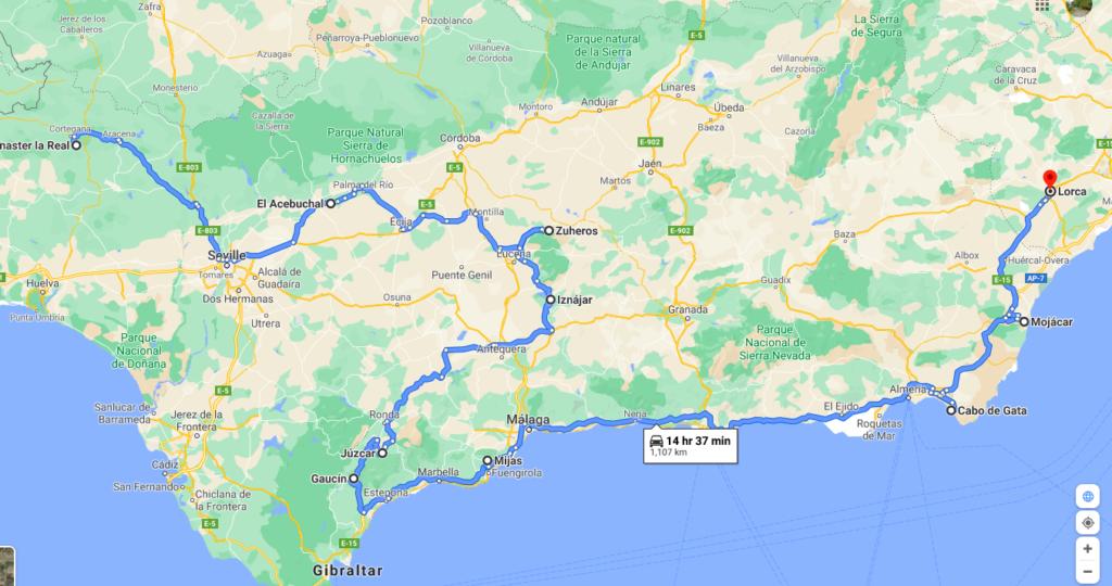 southern spain road trip idea